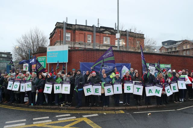 The picket line outside the Royal Hospital in Belfast as nurses across Northern Ireland take part in a 12-hour strike