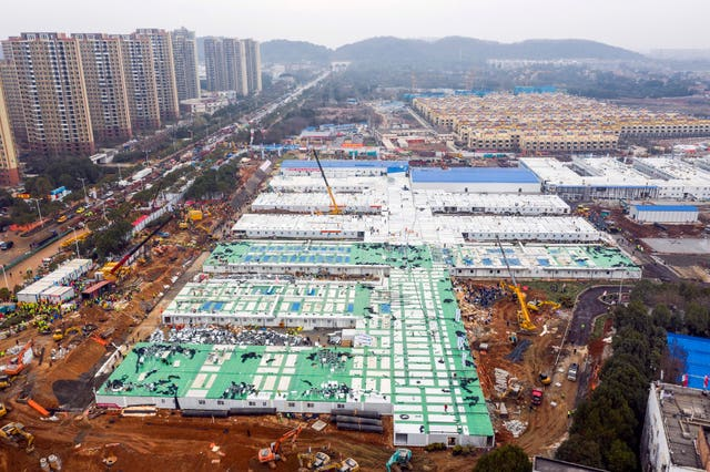 The Huoshenshan temporary field hospital during its construction in Wuhan in central China's Hubei Province