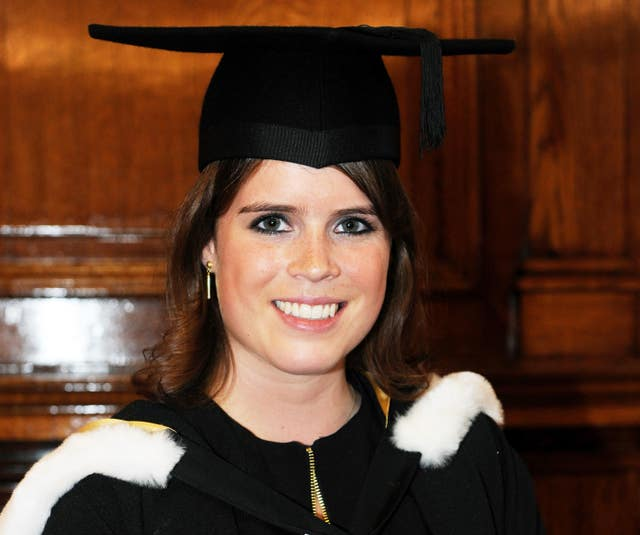 Princess Eugenie attends her graduation ceremony at Newcastle University (Owen Humphreys/PA)