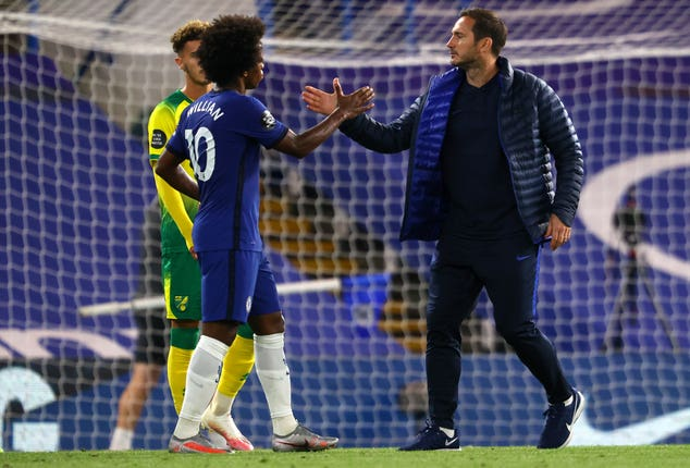 Willian, left, could be leaving Frank Lampard's Chelsea