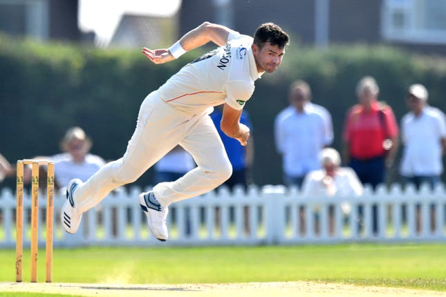 James Anderson bowls during day one of Lancashire's 2nd XI match against Durham