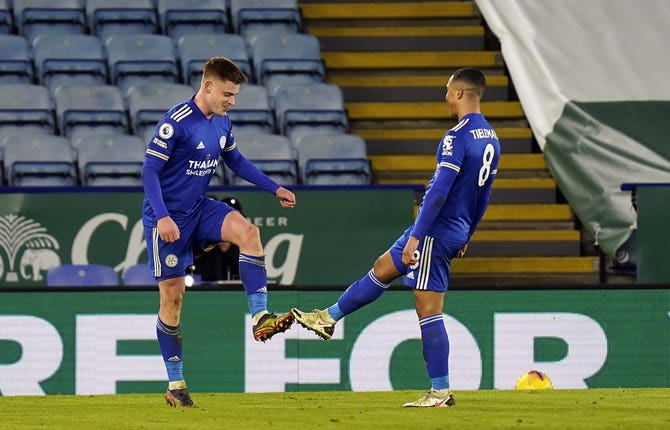 Harvey Barnes, left, impressed at the King Power Stadium
