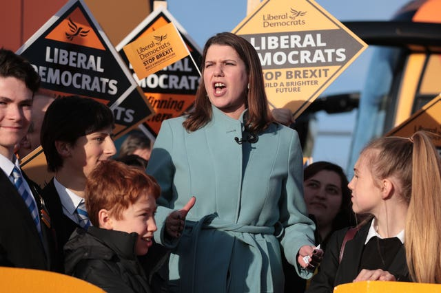Jo Swinson addresses a Lib Dem rally in the Esher and Walton constituency of Foreign Secretary Dominic Raab