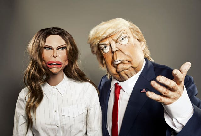 Melania and Donald Trump in puppet form