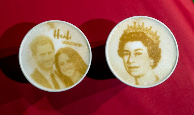 Heidi bakery in Windsor printed Prince Harry, Megan Markle and Queen Elizabeth II's face on to their coffees (Steve Parsons/PA)