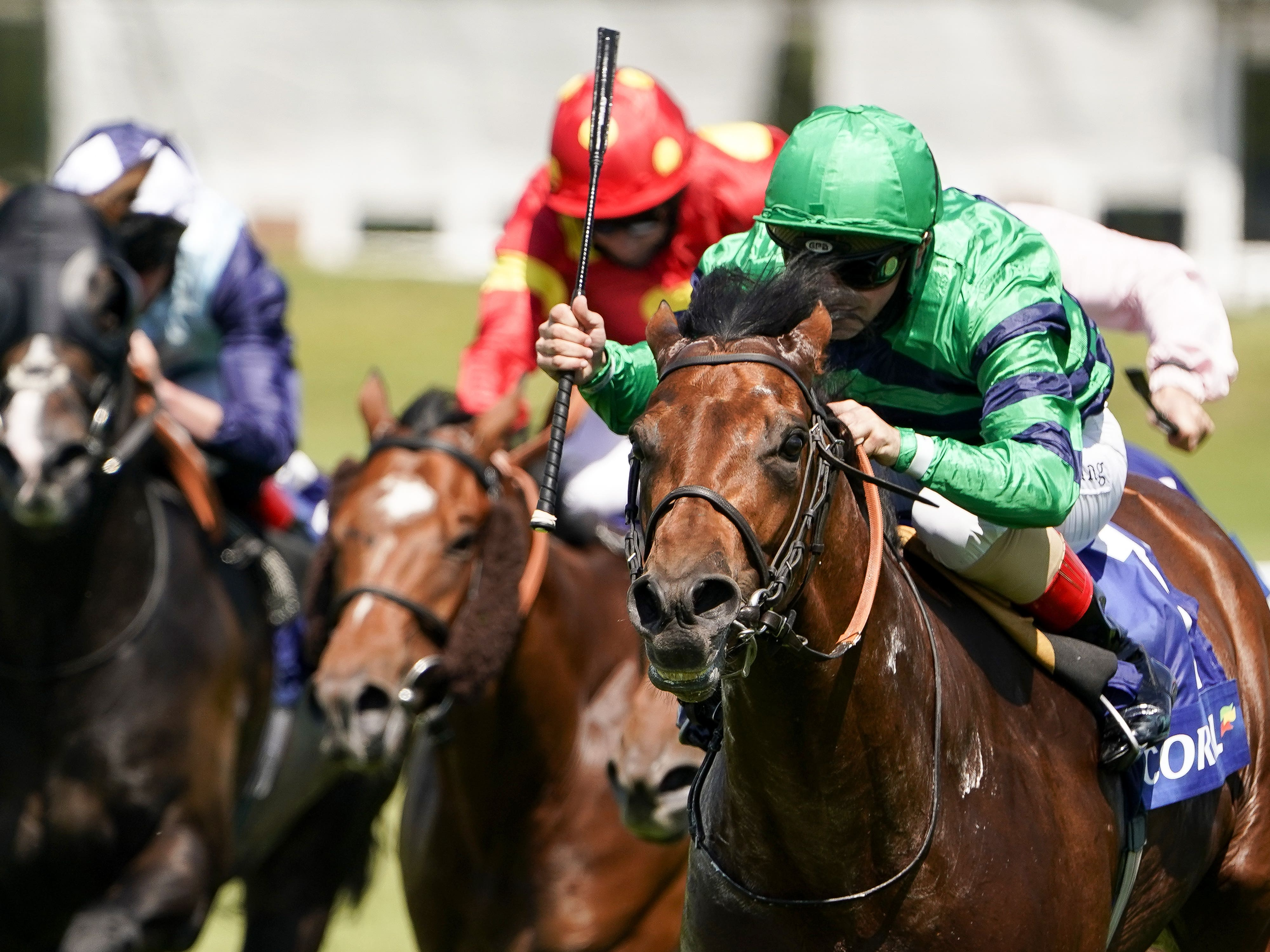 Atalis Bay (right) made all in the Scurry Stakes at Sandown Park (Alan Crowhurst/PA)