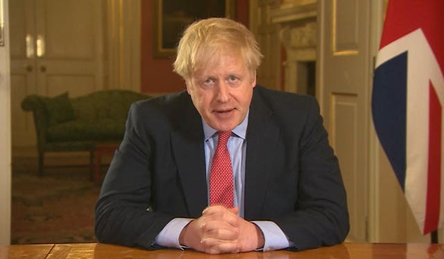 Prime Minister Boris Johnson addressing the nation from 10 Downing Street