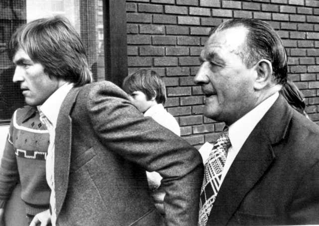 Kenny Dalglish and Bob Paisley enter Anfield