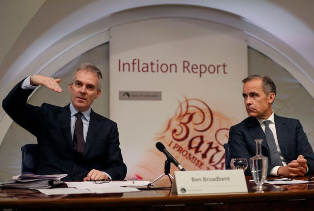 Ben Broadbent and Mark Carney at press conference