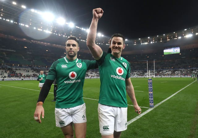Ireland's Johnny Sexton (right) celebrates a Six Nations win with Conor Murray