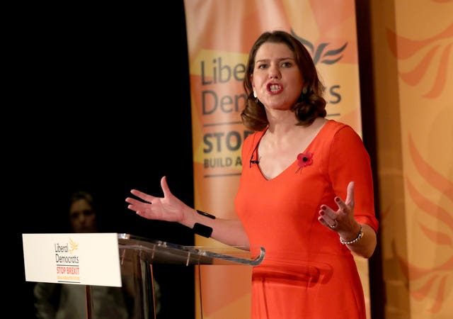 Leader Jo Swinson speaking at the launch of the Liberal Democrat General Election campaign