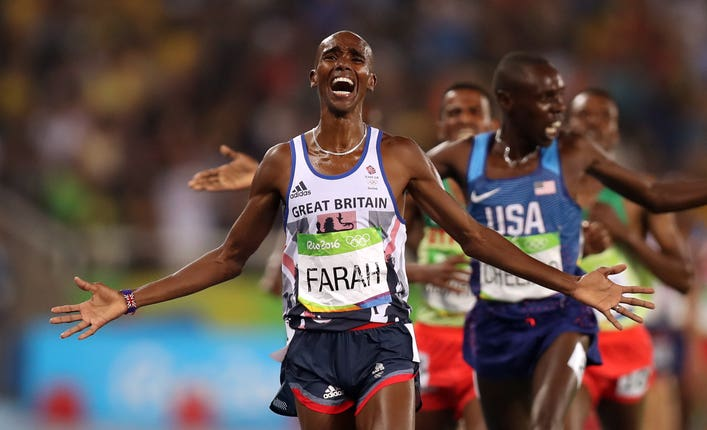 Farah celebrates winning 5,000m gold at Rio 2016