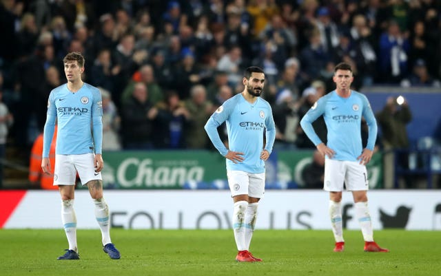Manchester City'were left to contemplate another Premier League defeat as they were beaten by Leicester (Nick Potts/PA).