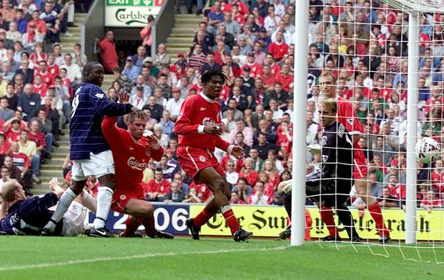 Liverpool defender Jamie Carragher scored two own goals in the same game as United won 3-2 at Anfield in September 1999.