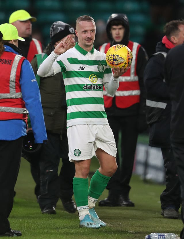 Celtic's Leigh Griffiths with match ball after scoring a hat-trick against St Mirren
