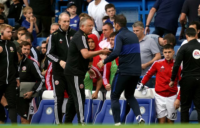 Frank Lampard and Chris Wilder shake hands