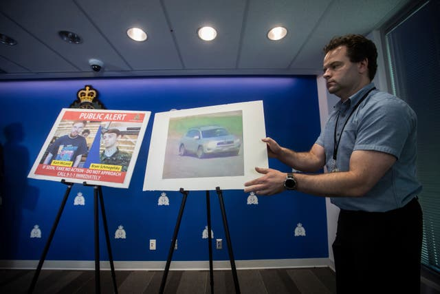 Police display security camera images of Kam McLeod, 19, and Bryer Schmegelsky, 18, and a Toyota RAV4 vehicle