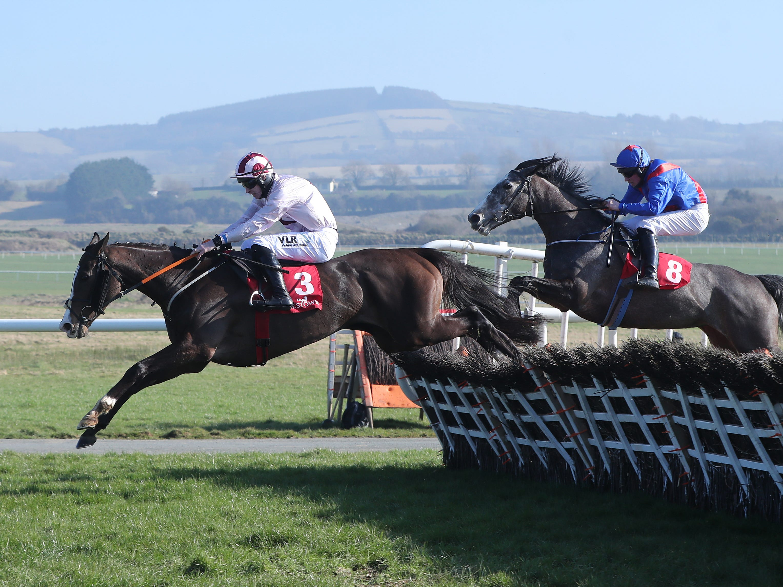 Black Tears (left) on her way to victory at Punchestown (Niall Carson/PA)