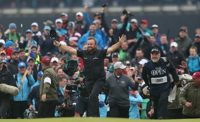Shane Lowry is cheered on by thousands of fans at Royal Portrush