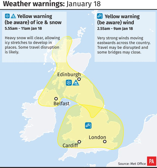 Weather warnings for January 18 (PA Graphics)