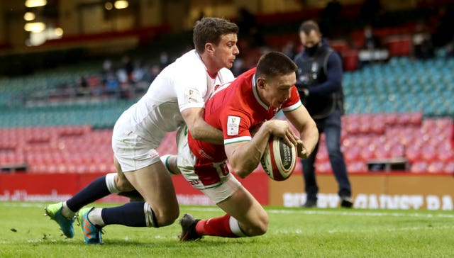 Josh Adams scored Wales' controversial opening try against England