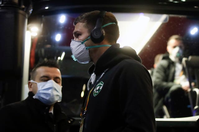 Players from Bulgarian team Ludogorets wear protective face masks ahead of their Europa League clash with Inter Milan, which was played behind closed doors at San Siro