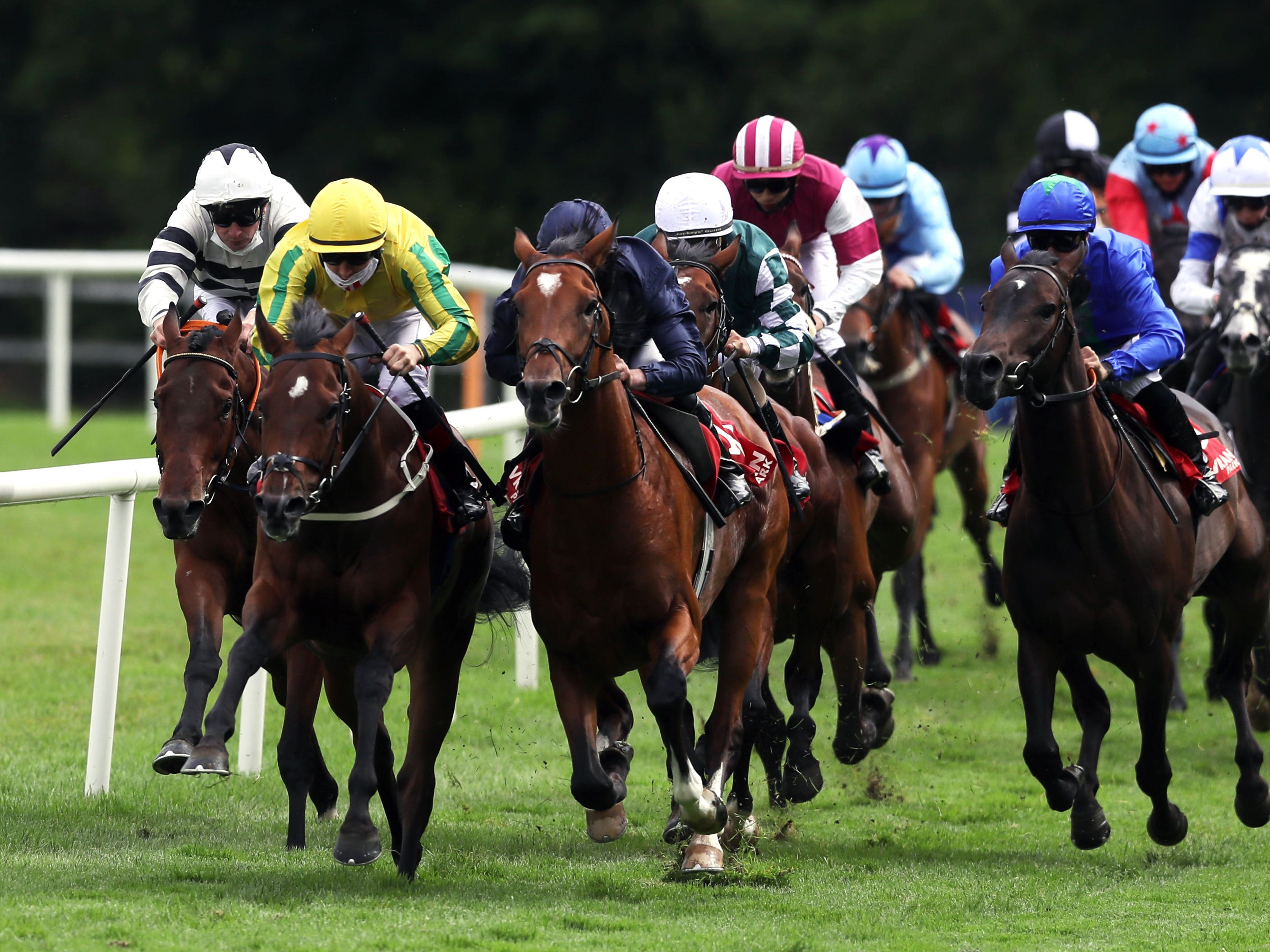 Keats (dark blue) landed his first Listed race (Brian Lawless/PA)