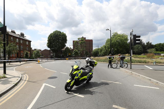 The scene in Battersea, south-west London, of an e-scooter crash