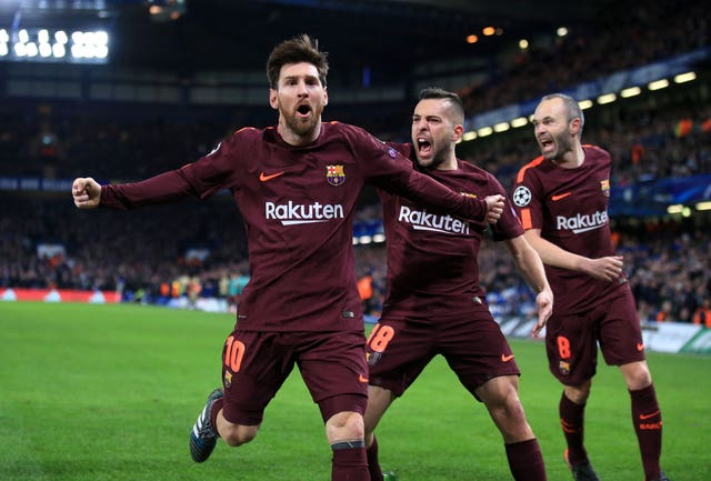 Lionel Messi celebrates his goal at Stamford Bridge