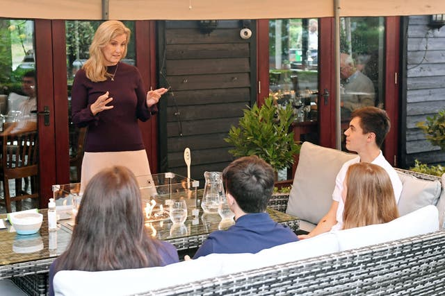 The Countess of Wessex speaks to guests during her visit to The Half Moon public house in Windlesham. Stuart C. Wilson/PA Wire