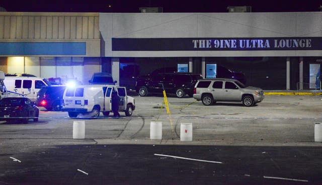 Police at the scene of a shooting at a nightclub in Kansas City