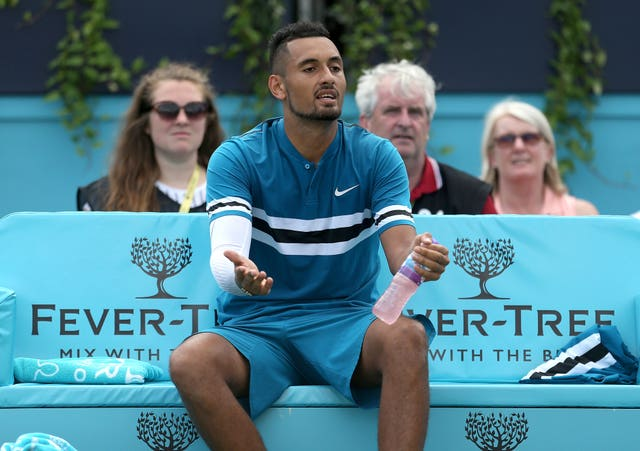 Nick Kyrgios was fined for lewd behaviour at Queen's