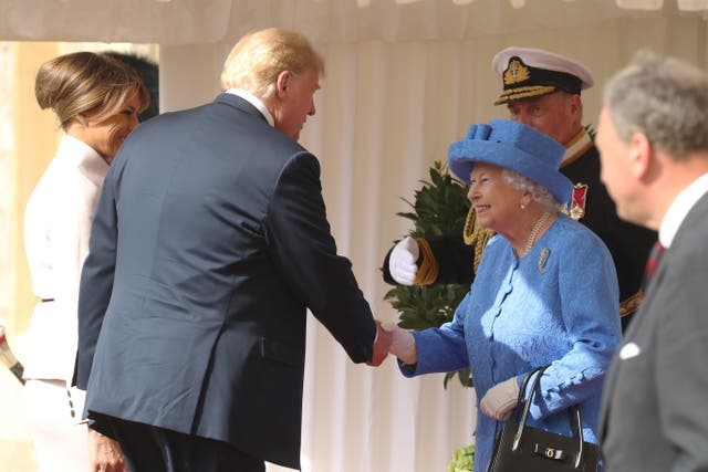 The Queen and Trump shake hands