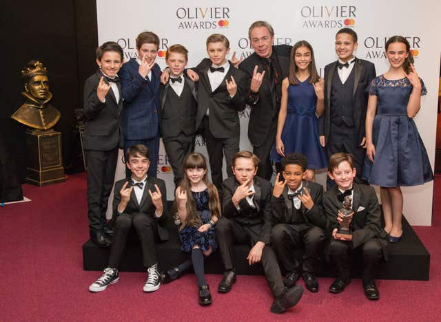 Andrew Lloyd Webber and the cast of The School of Rock
