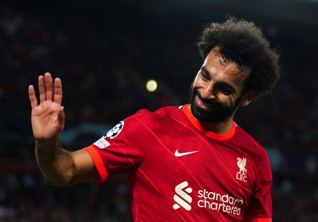 Mohamed Salah waves to Liverpool fans