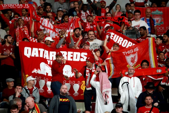 Liverpool fans watch their side's match against Flamengo at last year's Club World Cup