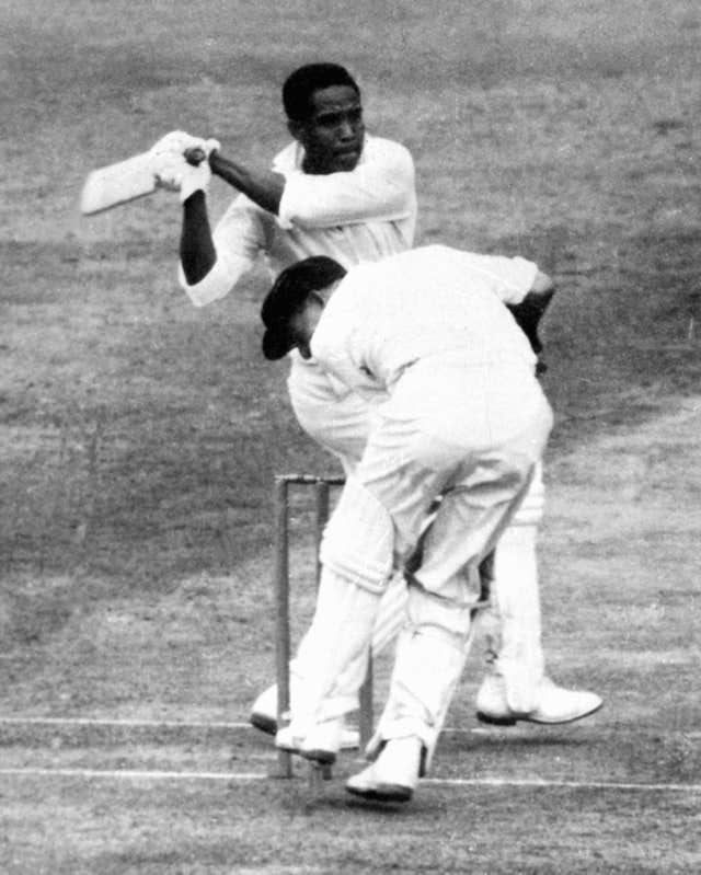 Sir Garfield Sobers hits out on his way to 168 against Australia in 1961