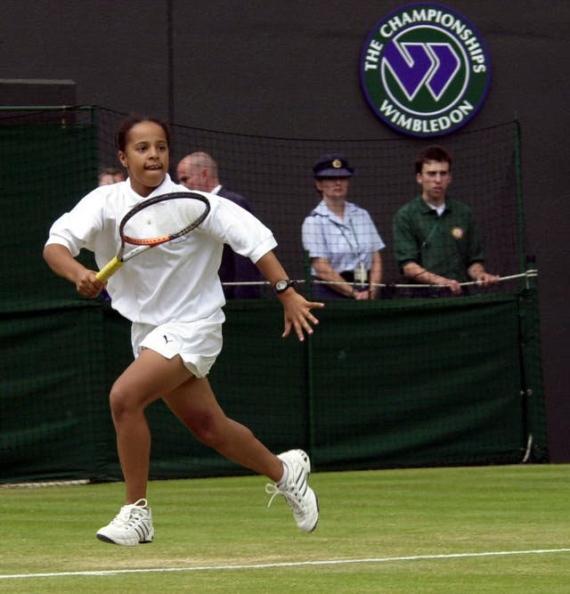 Yasmin Clarke playing at Wimbledon as a junior