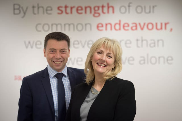 Ms Formby with the man she will succeed, Ian McNicol (Stefan Rousseau/PA)