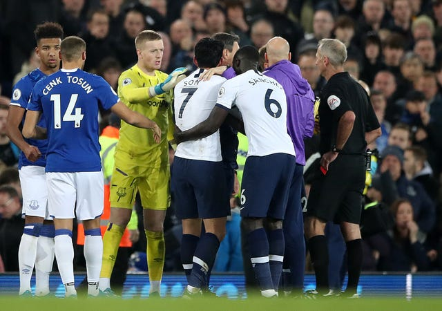 Tottenham forward Son Heung-min was distraught following his challenge on Andre Gomes
