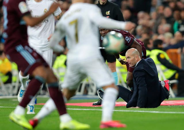 Real Madrid head coach Zinedine Zidane was felled by Celta Vigo defender Joseph Aidoo during the 2-2 draw at the Bernabeu