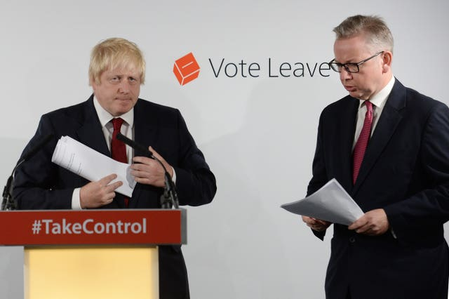 Boris Johnson and Michael Gove at Vote Leave HQ after winning the referendum (Stefan Rousseau/PA)