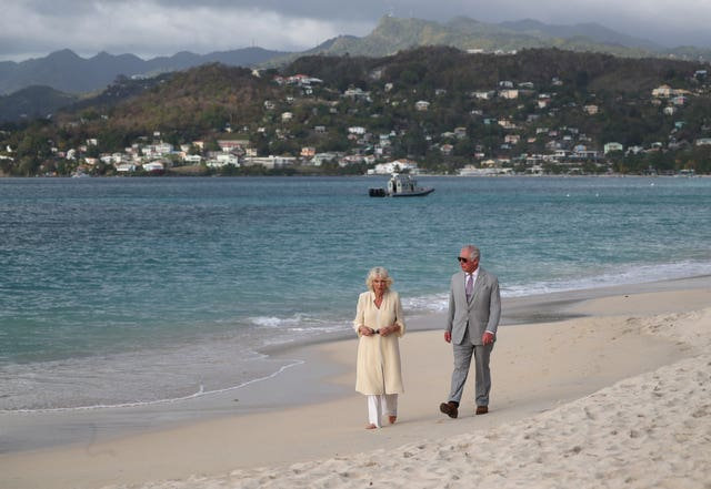 Charles and Camilla on beach