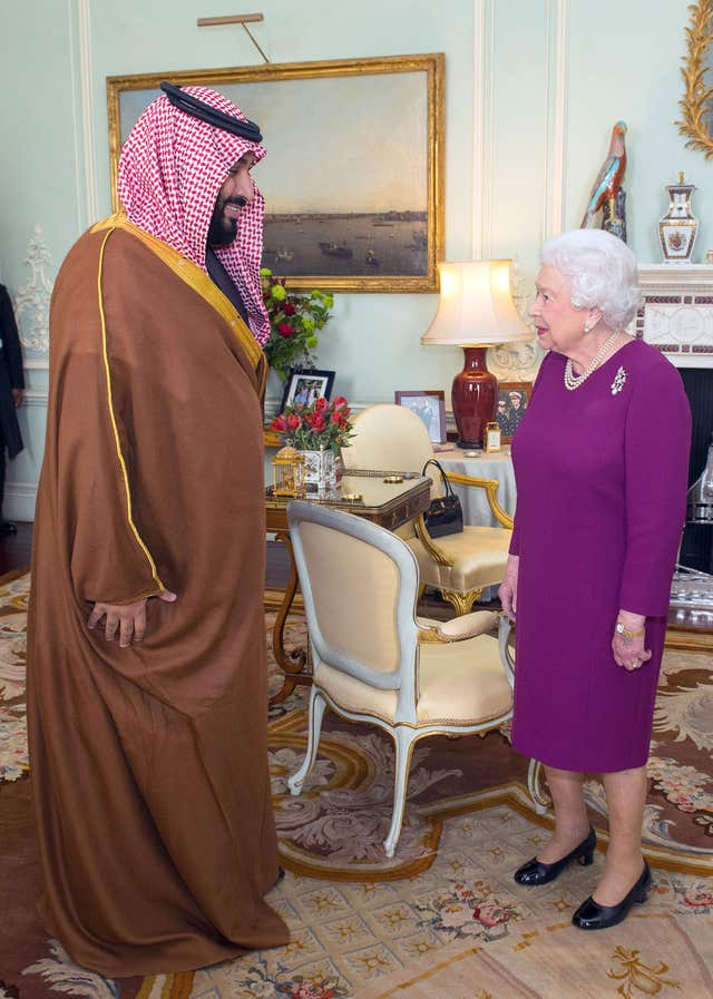 The Queen greets Mohammed bin Salman during a private audience at Buckingham Palace (Dominic Lipinski/PA)