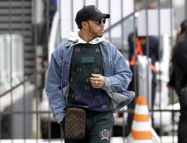 Lewis Hamilton arrives at the track in Brazil