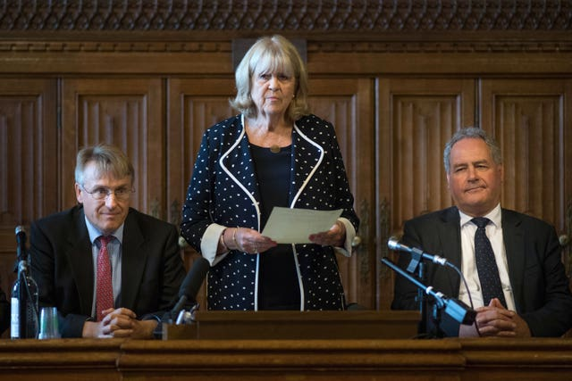 Dame Cheryl Gillan with Charles Walker (left) and Bob Blackman (right) reads out the results of the first ballot in the Tory leadership