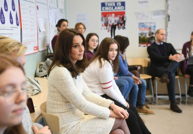 The Duchess of Cambridge in a classroom at the Matteusskolan school in Stockholm where she and the Duke of Cambridge met children who have taken part in the YAM programme during one of their mental health activity sessions. (Victoria Jones/PA)