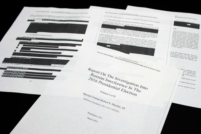 Four pages of the Mueller Report