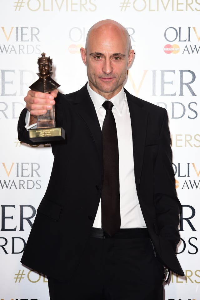 Mark Strong with the Olivier Award for best actor