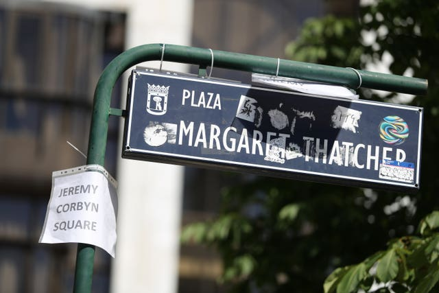 A street sign for Margaret Thatcher Square in Madrid